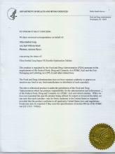 FDA认证体系证书