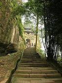 通向合川钓鱼城城门的石梯小道