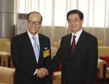 2010年9月6日胡锦涛在深圳会见李嘉诚先生