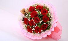 木修花11朵粉白红香槟玫瑰