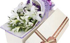情缘鲜花12朵百合礼盒套餐