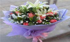 花品汇19支百合玫瑰花束