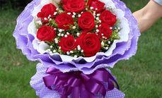 鲜花水果11枝红玫瑰