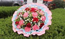 叶上花11朵粉康8朵红玫瑰