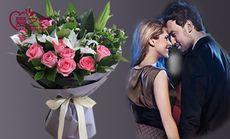 11枝玫瑰2枝百合鲜花