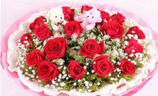 薇薇鲜花19支玫瑰公仔