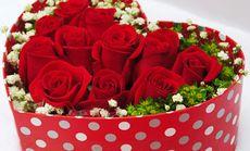 红玫瑰心形礼盒套餐