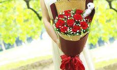 一花11支红玫瑰尤加利礼盒