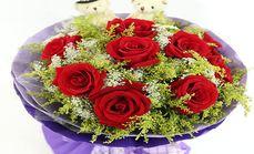 花香四季9支红玫瑰两只小熊