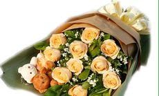 花千谷11粉玫瑰1小熊花束