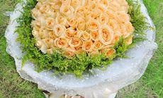 花艺99朵香槟玫瑰花束