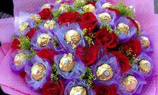 恬静花艺21枝玫瑰加巧克力