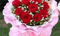 蕾蕾花坊红玫瑰小熊花束