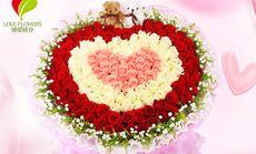 钟爱鲜花99朵混色玫瑰花束