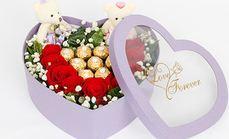绿韵花艺9支玫瑰花和巧克力