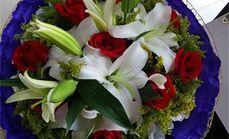 花之恋9枝红玫+2百合