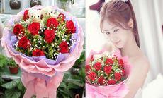 11朵玫瑰加2支小熊花束