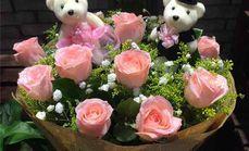 爱慕鲜花11朵粉玫瑰花束