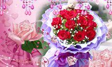卉如鲜花11枝红玫瑰2小熊
