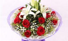 花为媒玫瑰加多头百合