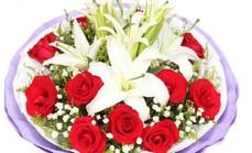 美心鲜花百合玫瑰高档花束