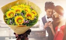 520鲜花9朵向日葵花束