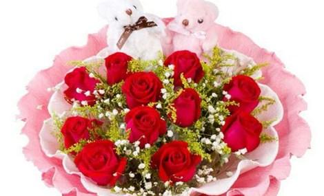 仅售56元,价值88元11朵红玫瑰+小熊或多头百合!节假日通用!