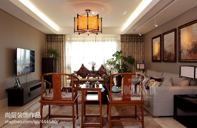 中式风格客厅电视机背景墙效果图欣赏图片