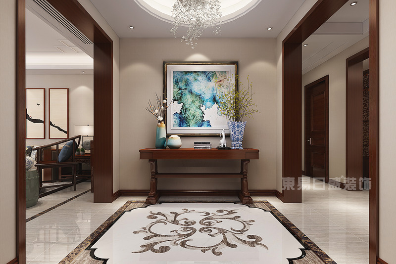 新中式公司玄关_新中式玄关 富力华庭 新中式 244平米四居室装修效果图