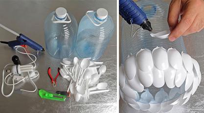 平时废弃的饮料瓶易拉罐做成美美的手工图片