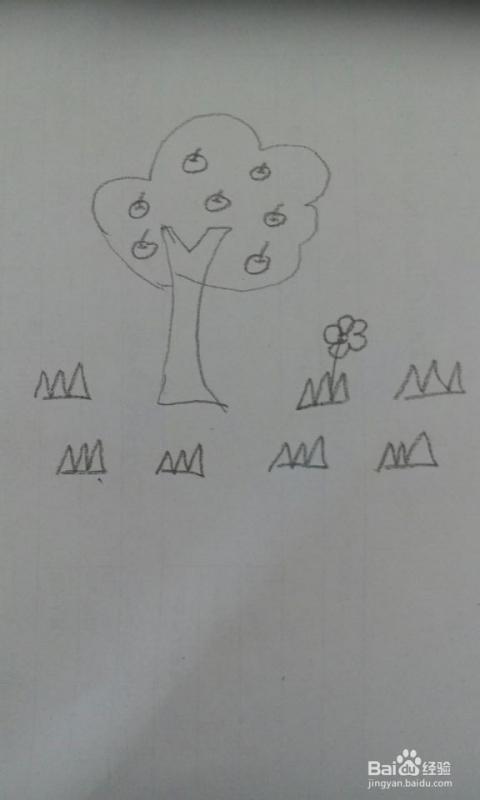 苹果周围有小花小草 简笔画 苹果树 书画 音乐高清图片