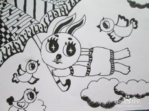 小兔子线描_可爱的小兔子线描图片