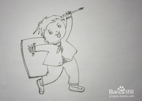 儿童趣味创意画:[11]简笔画《背画夹的孩子》图片