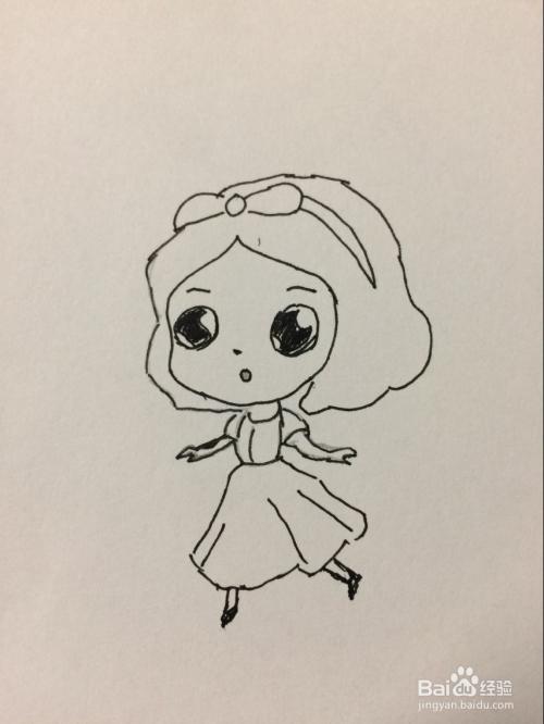 怎样画简单漂亮的白雪公主图片