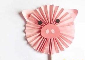 手工制作可爱小猪纸扇图片