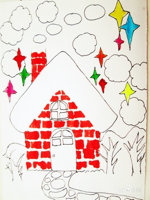 儿童水彩笔画 圣诞夜之雪 的作画步骤