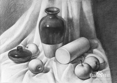 素描初学者要掌握的 酒瓶,酒杯,瓦煲和水果图片