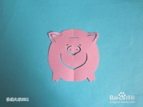 儿童趣味手工剪纸---小猪的折剪方法图片