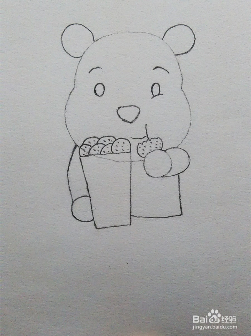 儿童简笔画教程之小熊吃饼干步骤