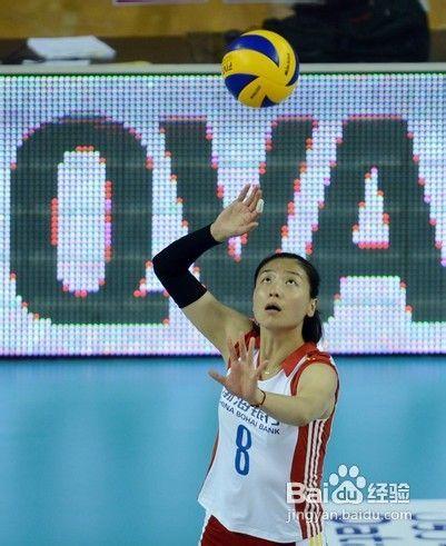 排球发球之正面上手飘球如何发及掌握 高清图片