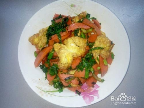 儿童最爱的下饭菜:火腿肠炒鸡蛋图片