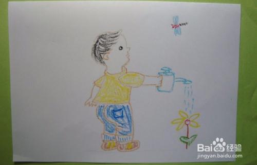 儿童蜡笔画之给花浇水的小男孩