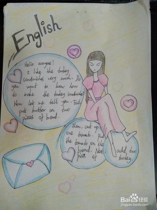 简单漂亮英语手抄报彩铅