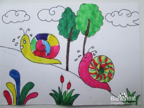 儿童画《蜗牛》的作画步骤图片