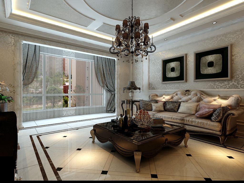 奢华典雅欧式风格三居120平家庭餐厅餐桌灯具吊顶装修效果图图片