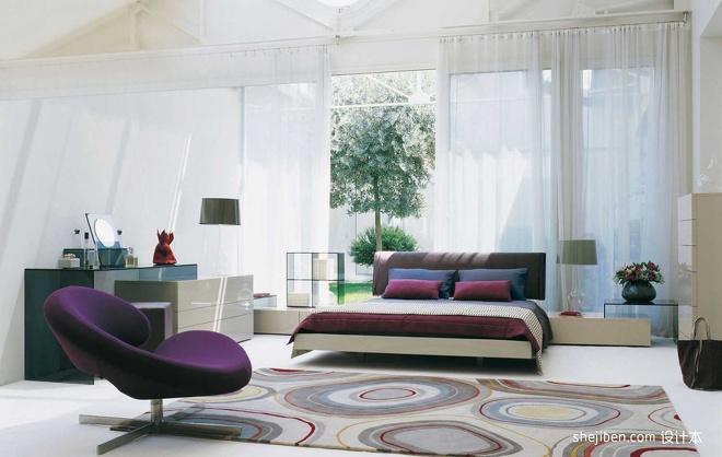 2013现代风格复式小清新大卧室带书房落地窗帘装修效果图 高清图片