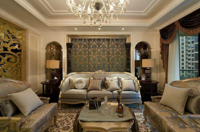 欧式跃层165平三居家庭卫生间浴室柜花瓶灯具装修效果图图片