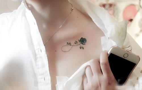 锁骨纹身图案唯美分享展示图片