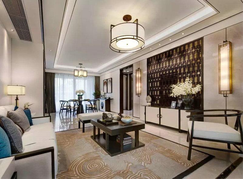 5-10万80平米中式二居室装修效果图,新中式两居室装修案例效果图-齐家图片