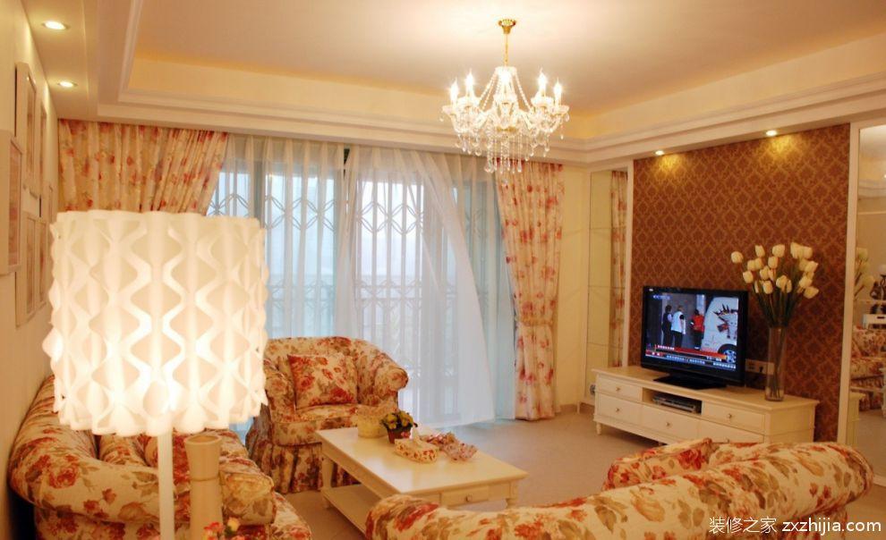 欧式风格两室两厅客厅电视墙效果图_装修之家装修效果图图片